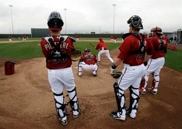Arizona Diamondbacks catchers watch drills at Salt River Fields at Talking Stick, the team's spring training baseball facility, near Scottsdale, Ariz., Sunday, Feb. 20, 2011. (AP Photo/Marcio Jose Sanchez) By Marcio Jose Sanchez