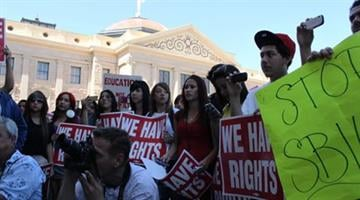 High school students converged on the state Capitol in downtown Phoenix. By Jennifer Thomas