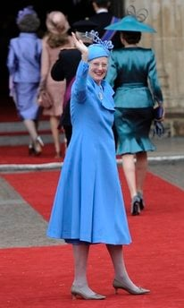 Denmark's Queen Margrethe arrives at Westminster Abbey for the Royal Wedding for Britain's Prince William and Kate Middleton in London Friday, April, 29, 2011. (AP Photo/Martin Meissner) By Martin Meissner