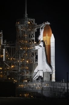 Space Shuttle Endeavour is seen at the Kennedy Space Center at Cape Canaveral, Fla. Monday May 16, 2011. Endeavour and a crew of six are scheduled to lift off Monday on a mission to the international space station. (AP Photo/John Raoux) By John Raoux