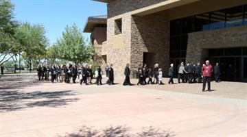 Family and friends escort Harmon Killebrew's casket into Christ's Church of the Valley in Peoria. By Jennifer Thomas