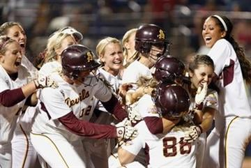 Arizona State celebrates after defeating Florida during the Women's College World Series softball championship at ASA Hall of Fame Stadium in Oklahoma City, Friday, June 3, 2011. (AP Photo/Alonzo Adams) By Alonzo Adams