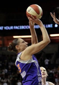 Phoenix Mercury's Diana Taurasi shoots against the Seattle Storm in the first half of a WNBA basketball game Saturday, June 4, 2011, in Seattle. Taurasi led all scorers with 31 points. The Storm won 78-71. (AP Photo/Elaine Thompson) By Elaine Thompson