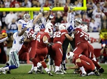 Arizona Cardinals place kicker Jay Feely (4) kicks the game winning field goal during the fourth quarter of an NFL football game Saturday, Dec. 25, 2010, in Glendale, Ariz. The Cardinals won 27-26.(AP Photo/Matt York) By Matt York
