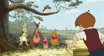 """In this film publicity image released by Disney, animated characters from left, Rabbit, Kanga, Roo, Piglet, Owl, Winnie the Pooh, Christopher Robin are shown in a scene from """"Winnie the Pooh."""" (AP Photo/Disney Enterprises, Inc.) By Jennifer Thomas"""