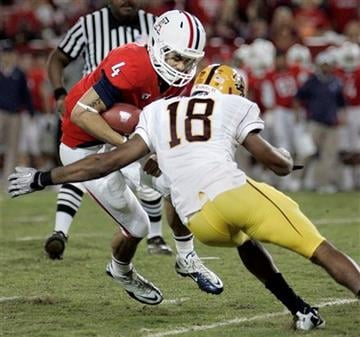 Arizona backup quarterback Matt Scott (4) is sacked by Arizona State's Oliver Aaron (18) in the second quarter of an NCAA college football game at Arizona Stadium in Tucson, Ariz., Thursday, Dec. 2, 2010. (AP Photo/Wily Low) By Wily Low