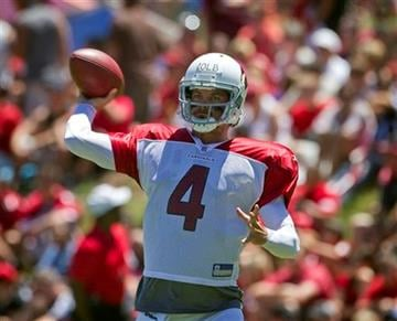 Arizona Cardinals quarterback Kevin Kolb run drills during the Cardinals' NFL football training camp Saturday, Aug. 6, 2011, in Flagstaff, Ariz. (AP Photo/Matt York) By Matt York