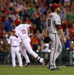 Arizona Diamondbacks starting pitcher Ian Kennedy walks off the mound after the Philadelphia Phillies' John Mayberry (15) hit a two-run home run in the third inning Thursday, Aug. 18, 2011, in Philadelphia. (AP Photo/H. Rumph Jr) By Horry Rumph  Jr