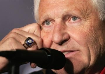 Arizona basketball coach Lute Olson looks on during a news conference for their NCAA second round college basketball game in Philadelphia in March, 2006. By Catherine Holland