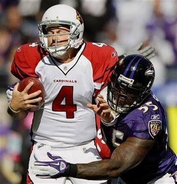 Arizona Cardinals quarterback Kevin Kolb (4) is sacked by Baltimore Ravens outside linebacker Terrell Suggs during the first half of an NFL football game in Baltimore, Sunday, Oct. 30, 2011. (AP Photo/Patrick Semansky) By Patrick Semansky