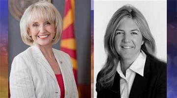 Gov. Jan Brewer and former IRC chairwoman Colleen Mathis By Catherine Holland