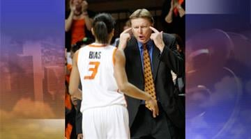 FILE - In this Jan. 29, 2011, file photo, Oklahoma State head coach Kurt Budke, right, talks with guard Tiffany Bias, left, in the first half of an NCAA college basketball game against Oklahoma in Stillwater, Okla. By Jennifer Thomas