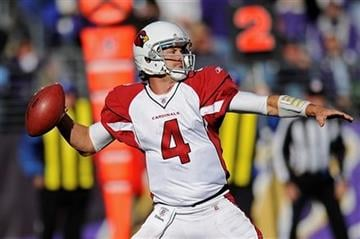 Arizona Cardinals quarterback Kevin Kolb passes during the second half of an NFL football game against the Baltimore Ravens in Baltimore on Sunday, Oct. 30, 2011. The Ravens defeated the Cardinals 30-27. (AP Photo/Nick Wass) By Nick Wass