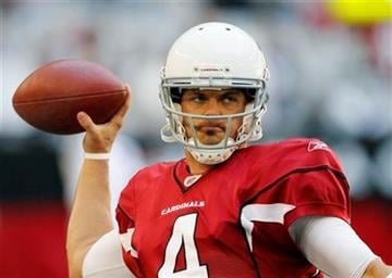 Arizona Cardinals quarterback Kevin Kolb warms up prior to an NFL football game against the Dallas Cowboys, Sunday, Dec. 4, 2011, in Glendale, Ariz. (AP Photo/Matt York) By Matt York