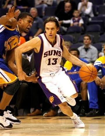 Phoenix Suns point guard Steve Nash, right, drives on Golden State Warriors small forward Dominic McGuire during the fourth quarter of an NBA basketball game on Monday, Jan. 2, 2012, in Phoenix.  (AP Photo/Rick Scuteri) By Rick Scuteri