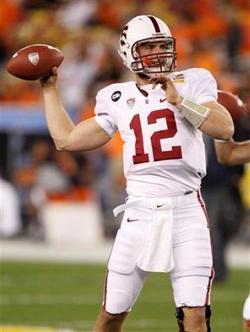 Stanford quarterback Andrew Luck warms up prior to the Fiesta Bowl NCAA college football game against Oklahoma State Monday, Jan. 2, 2012, in Glendale, Ariz. (AP Photo/Paul Connors) By Paul Connors