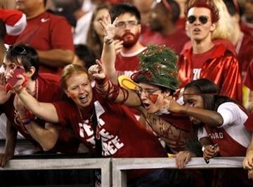Stanford fans cheer on their team prior to the Fiesta Bowl NCAA college football game against Oklahoma State, Monday, Jan. 2, 2012, in Glendale, Ariz. (AP Photo/Paul Connors) By Paul Connors