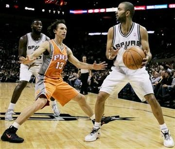 San Antonio Spurs' Tony Parker, right, of France, looks to pass around Phoenix Suns' Steve Nash during the first half of an NBA basketball game, Sunday, Jan. 15, 2012, in San Antonio. (AP Photo/Darren Abate) By Darren Abate