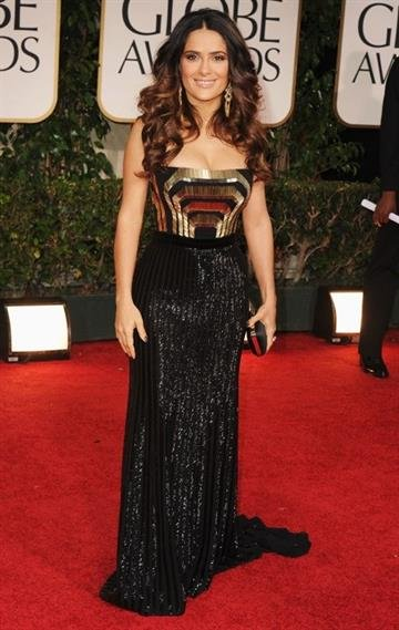 BEVERLY HILLS, CA - JANUARY 15:  Actress Salma Hayek arrives at the 69th Annual Golden Globe Awards held at the Beverly Hilton Hotel on January 15, 2012 in Beverly Hills, California.  (Photo by Steve Granitz/WireImage) By Steve Granitz