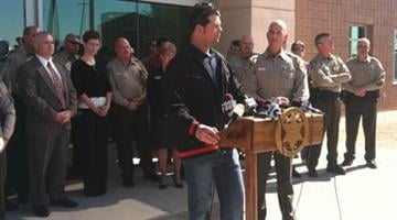 Supporters of Pinal County Sheriff Paul Babeu spoke at a news conference Saturday afternoon. By Catherine Holland