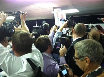 Media crush around Santorum in the Spin Room