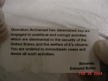 This note was contained in the package bomb opened by Don Logan. By Jennifer Thomas