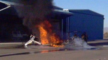 A helicopter caught fire at Glendale Municipal Airport Monday morning. By Jennifer Thomas