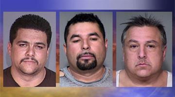 L-R, Julio Cesar Lopez, Efren Gonzales Maldonado and Daniel R. De La Vina were arrested for cockfighting. By Jennifer Thomas