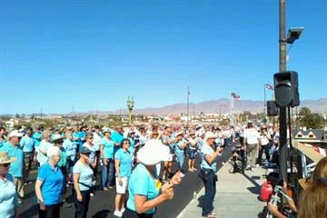 More than 1,000 people gathered in Lake Havasu City, Ariz. over the weekend trying to set a world record for line dancing on the London Bridge. By Mike Gertzman