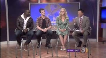 """The Hunger Games"" stars Leven Rambin (Glimmer), Dayo Okeniyi (Thresh) and Jack Quaid (Marvel) chat with Javier Soto. By Jennifer Thomas"