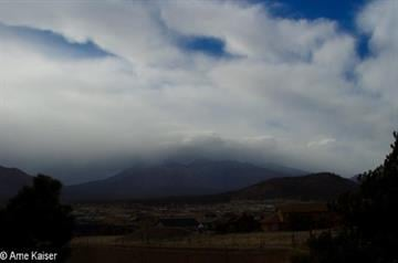 The promised storm rolling in over the San Francisco Peaks, Flagstaff, on March 17, 2012. Promising to be the biggest snow maker of 2012. By Mike Gertzman