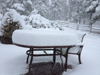 A backyard in the Timberline neighborhood of Flagstaff on Sunday morning By Mike Gertzman