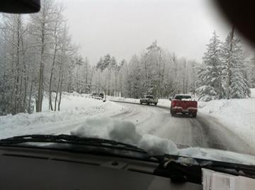 The line of cars headed up to Snowbowl in Flagstaff on Monday By Mike Gertzman