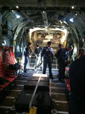 Javier Soto joined the Navy Leap Frogs aboard a C-130 Tuesday morning. While he flew with them, he didn't jump. By Catherine Holland