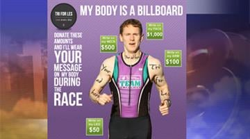 Valley triathlete Adam Fuller is raising money for the Leukemia & Lymphoma Society by selling advertising space on his body. By Mike Gertzman