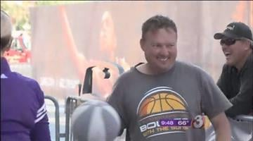 "Mike Ornoski won the ""St. Joseph's Bounce with the Suns"" contest, dribbling for 53 hours and 45 minutes to receive a road trip for two on the Suns' charter plane for a game next season. By Mike Gertzman"