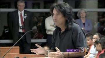 Rock legend Alice Cooper made a presentation to the Governing Board of the Paradise Valley Unified School District and announced a donation of instruments to Arrowhead Elementary School. By Mike Gertzman