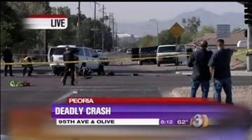 A motorcycle rider was killed in a collision in Peoria. By Jennifer Thomas
