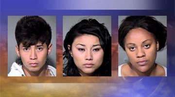 Tito Alvarado, 19, Jessica Lopez-Barahona, 19, Destany Cooper, 19, are each facing a charge of disorderly conduct after brawl at a high school in Phoenix on Tuesday By Mike Gertzman