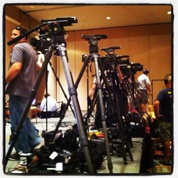 The media setup for a Romney campaign event By Mike Gertzman