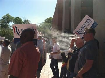 Romney supporters trying to stay cool on a warm day in the Valley By Mike Gertzman