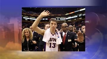 Steve Nash #13 of the Phoenix Suns waves to fans as he walks off the court following the NBA game against the San Antonio Spurs at US Airways Center on April 25, 2012, in Phoenix. By Jennifer Thomas