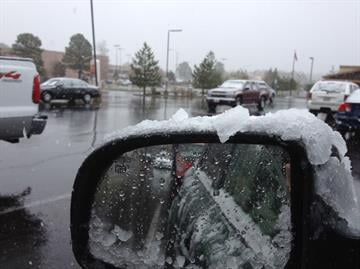The storm system moving through Arizona on Thursday dropped some sleet in the Flagstaff area By Mike Gertzman