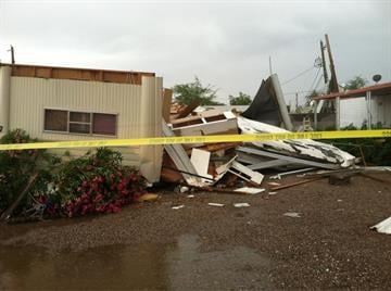 A mobile destroyed by severe weather in the East Valley By Mike Gertzman