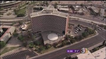 ASU's Manzanita Hall is half-way through a complete renovation.  This is an aerial view from the Fort McDowell Casino Chopper. By Tyson Milanovich