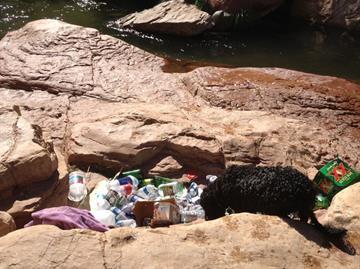 Trash at Oak Creek. By Mike Gertzman