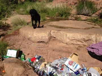 Trash at Oak Creek. By Mike Gertzman