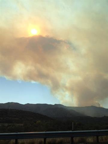 A view of Gladiator Fire from Sunset Point on Interstate 17 By Mike Gertzman