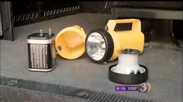 Explosive devices were housed in a standard 6-volt yellow handheld flashlight. By Jennifer Thomas