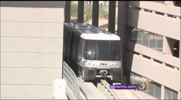The new PHX Sky Train at Phoenix Sky Harbor Airport had its first official test on Monday. It ran on the track between the new train station at the East Economy Parking lot and the train's maintenance facility. By Mike Gertzman